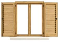 Hölzernes Fenster mit offenem Fensterladen lizenzfreie stockfotos