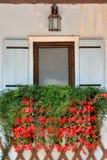 Hölzernes Fenster unter Lampe und Blume Stockbild
