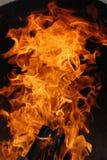 Hölzernes Feuer innerhalb des Ofens Stockfotos