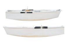 Hölzernes Fischerboot lokalisiert auf weißem Hintergrund Lizenzfreie Stockfotos