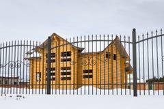 Hölzernes Gebäude der Blockhausstruktur Stockfotos