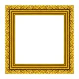 Hölzernes geschnitztes Rahmenmuster des Bilderrahmens lokalisiert auf weißem Hintergrund Stockbild