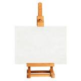 Hölzernes Gestell mit leerem Kunstbrett auf Weiß lizenzfreies stockfoto