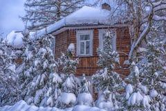 Hölzernes Häuschen schneebedeckt im Winter und in den Bäumen in den Schneefällen lizenzfreie stockfotografie