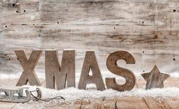 Hölzernes Handwerk rustikaler Weihnachtshintergrund Stockbild