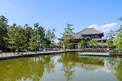 Hölzernes Hauptgebäude von Todaiji-Tempel in Nara Stockfotografie