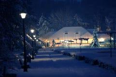 Hölzernes Haus abgedeckt durch einen Schnee in einem Wald lizenzfreies stockfoto