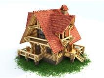 Hölzernes Haus auf Abbildung des Grases 3d Stockfotografie