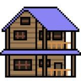 Hölzernes Haus der Vektorpixelkunst Lizenzfreie Stockbilder