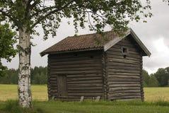 Hölzernes Haus Gamle Hvam des alten Landwirts. Norwegen. Lizenzfreie Stockfotos