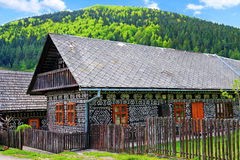 Hölzernes Haus im Dorf Cicmany lizenzfreie stockfotografie