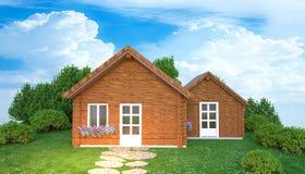 Hölzernes Haus im grünen Yard Stockbild