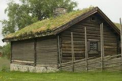 Hölzernes Hausmuseum Gamle Hvam des alten Landwirts. Lizenzfreie Stockfotografie