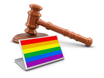 hölzernes Holzhammer 3d und Regenbogen-Homosexuelles Pride Flag Lizenzfreie Stockfotos