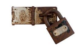 Hölzernes Kabinett der alten Tür mit Sicherheit der alte Schlüssel Lizenzfreies Stockfoto