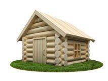 Hölzernes kleines Haus auf grüner Wiese Stockfotografie