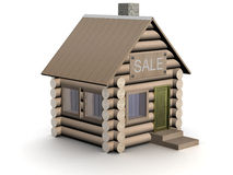 Hölzernes kleines Haus. Die getrennte Abbildung. Stockfoto