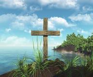 Hölzernes Kreuz auf der Insel lizenzfreie abbildung