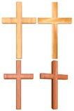Hölzernes Kreuz 3D stellte 2 ein Lizenzfreie Stockfotos