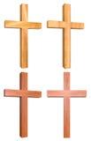 Hölzernes Kreuz 3D stellte 3 ein Stockfotos