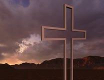 Hölzernes Kreuz in der Nacht Stockfotos