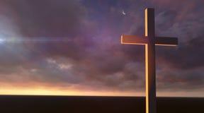 Hölzernes Kreuz in der Nacht Stockfotografie