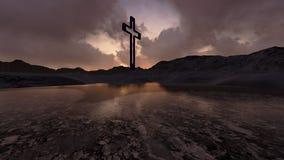 Hölzernes Kreuz in der Nacht Lizenzfreies Stockfoto