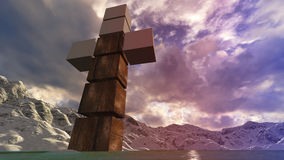 Hölzernes Kreuz im Wasser Stockfotografie