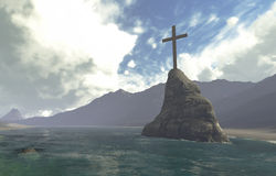 Hölzernes Kreuz im Wasser Lizenzfreie Stockbilder