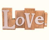 Hölzernes Liebeszeichen lokalisiert auf Weiß Stockfoto