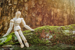Hölzernes Mannequin, das auf einer Anmeldungsnatur sitzt Lizenzfreies Stockfoto