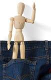 Hölzernes Mannequin innerhalb der Blue Jeans-Tasche Stockfoto