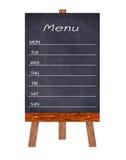 Hölzernes Menüanzeige Zeichen, Feldrestaurantanschlagbrett, lokalisiert auf weißem Hintergrund Lizenzfreie Stockfotos