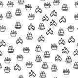 H?lzernes Picknick mit Korb-Produkt-nahtlosem Muster lizenzfreie abbildung