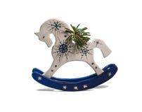 Hölzernes Pony mit dem gezierten Zweig Stockfotos