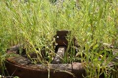 Hölzernes Rad auf einem Hintergrund des grünen Grases Stockfotos