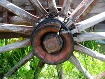 Hölzernes Rad des alten Warenkorbes auf grünem Gras an einem Sommertag Lizenzfreies Stockfoto