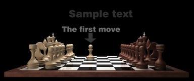 Hölzernes Schach auf Schwarzem stock abbildung