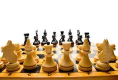 Hölzernes Schachbrett Stockfoto
