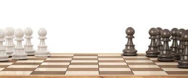 Hölzernes Schachbrett mit hölzernen Schachfiguren auf einem Weiß 3d Stockbild