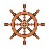 Hölzernes Schiffs-Rad auf weißem Hintergrund Vektor Lizenzfreies Stockbild
