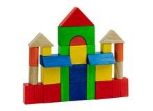 Hölzernes Schloss des bunten Spielzeugs Stockfotos