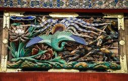 Hölzernes Schnitzen des Pfaus, Toshogu-Schrein, Präfektur Tochigi, Japan stockbilder