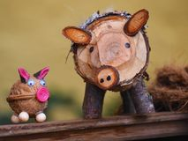hölzernes Schwein Lizenzfreies Stockbild