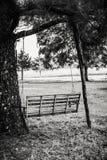 Hölzernes Schwingen, das heraus über einem Feld schaut Lizenzfreie Stockfotografie