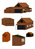 Hölzernes Set des landwirtschaftlichen Gebäudes lizenzfreie abbildung