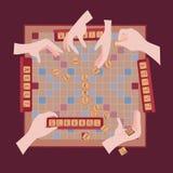 Hölzernes Spiel Wörter von der Fliese wühlen Buchstaben stock abbildung