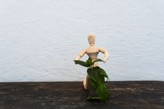 Hölzernes Spielzeug im Bild eines Mannes auf einem hellen Hintergrund in den Händen mit einer Grünpflanze Lizenzfreies Stockfoto