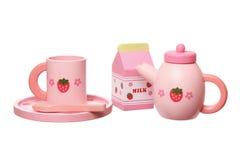 Hölzernes Spielzeug-Tee-Set Stockbilder