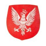 Hölzernes Spielzeugschild mit einem Wappen von Polen Stockbild